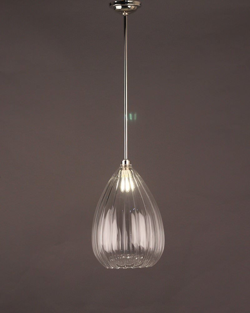Teardrop Ribbed Glass Bathroom Ceiling Light, Wellington Contemporary Lighting (Ip44 Rated)