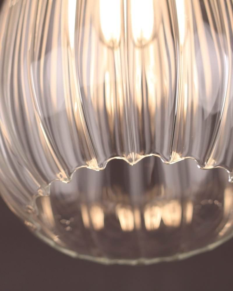 Teardrop Clear Ribbed Glass Ceiling Pendant Light, Wellington Contemporary Lighting