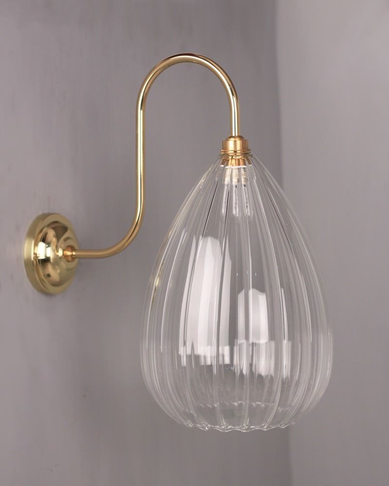 Teardrop Ribbed Glass Swan Neck Bathroom Wall Light, Wellington Contemporary Lighting (Ip44 Rated)