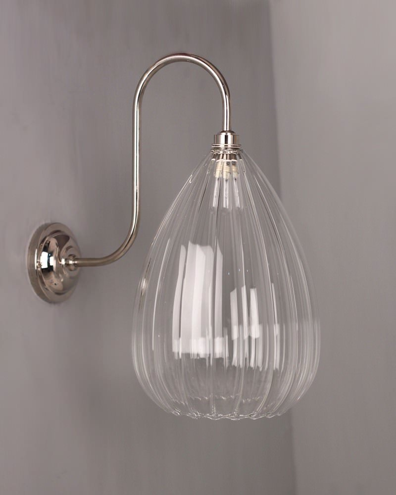 Ribbed Glass Wall Lights : Teardrop Ribbed Glass Swan Neck Bathroom Wall Light, Wellington Contemporary Lighting (Ip44 Rated)