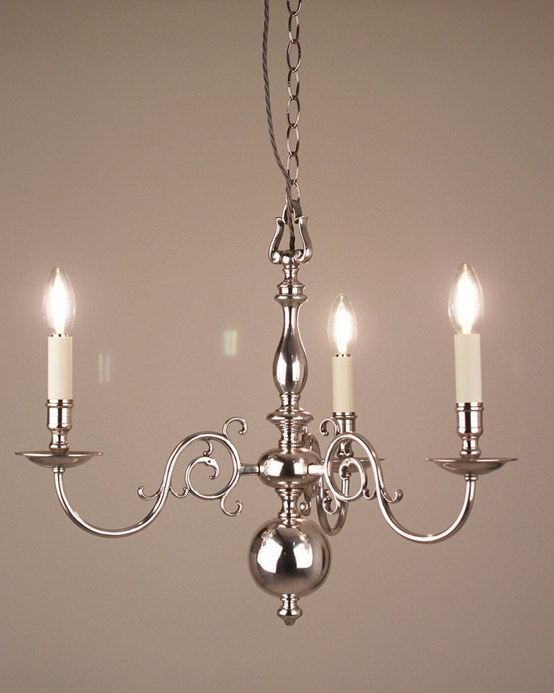 Small 3 Branch Silver Plate Dutch Style Antique Chandelier, Antique Lighting - 3 Branch Silver Plate Dutch Style Antique Chandelier, Antique Lighting