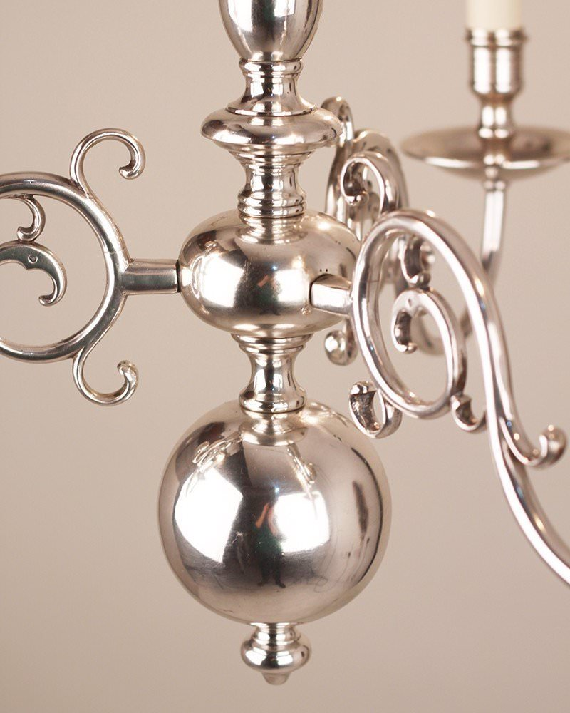 Small 3 Branch Silver Plate Dutch Style Antique Chandelier, Antique ...