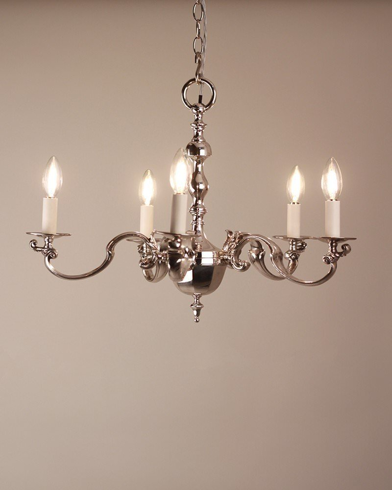 Silver chandelier a good quality 5 branch silver plated english chandelier - Chandelier a 5 branches ...