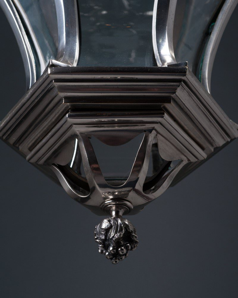 Silver Plate Hexagonal Lantern By Lef, Antique Lighting