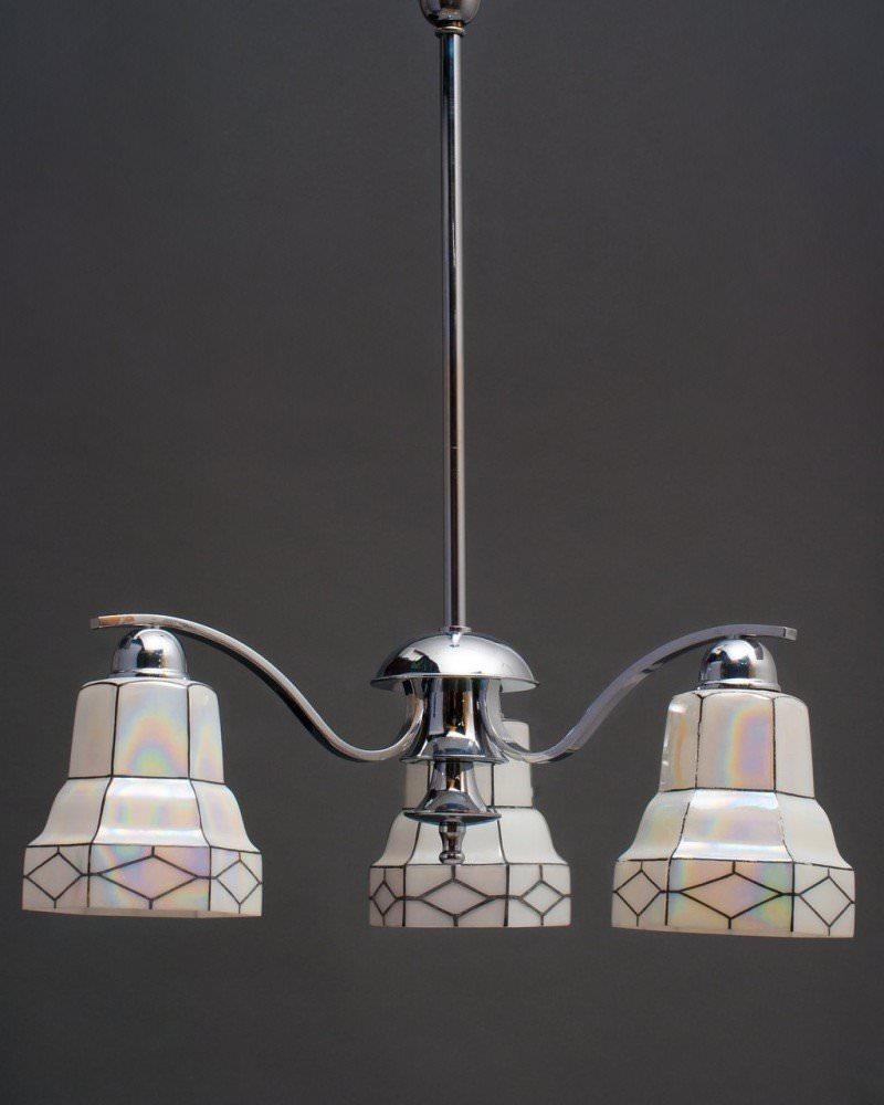 Art Deco 3 Branch Pendant Chandelier, Antique Lighting
