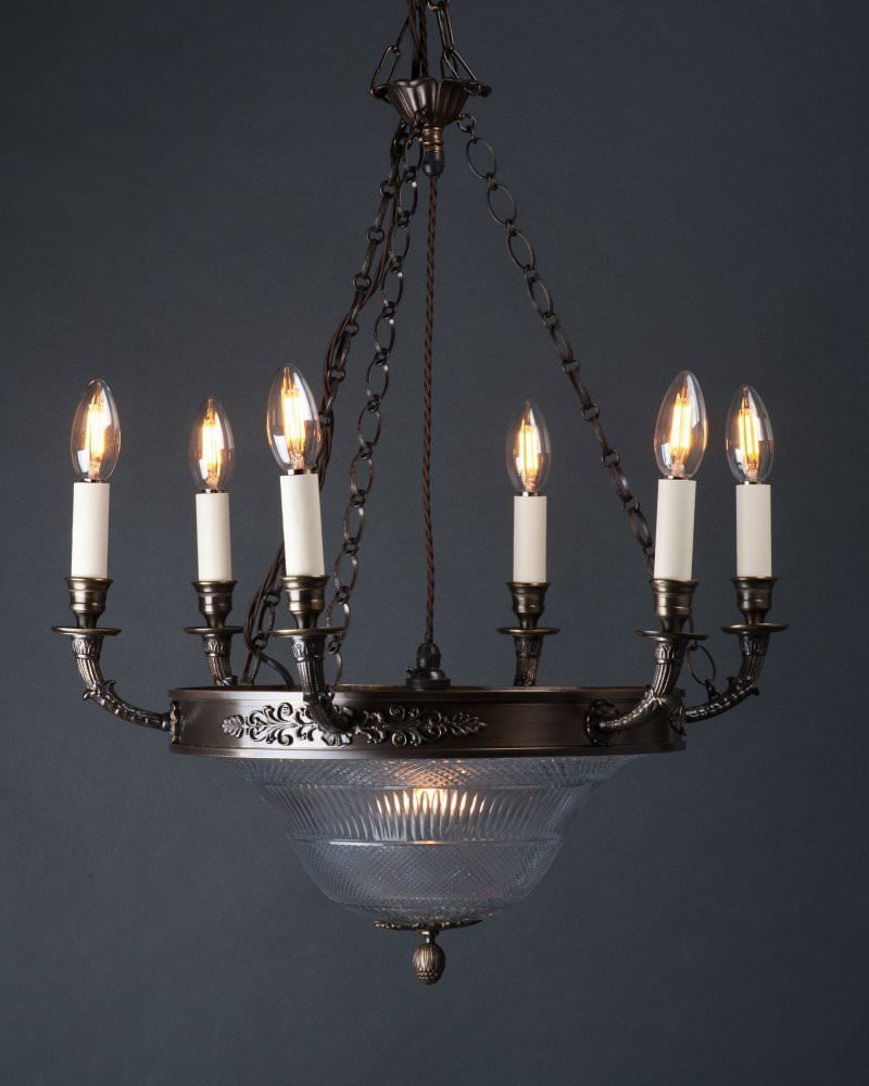 Antique Crystal 6 Branch Chandelier With Cut Crystal Bowl