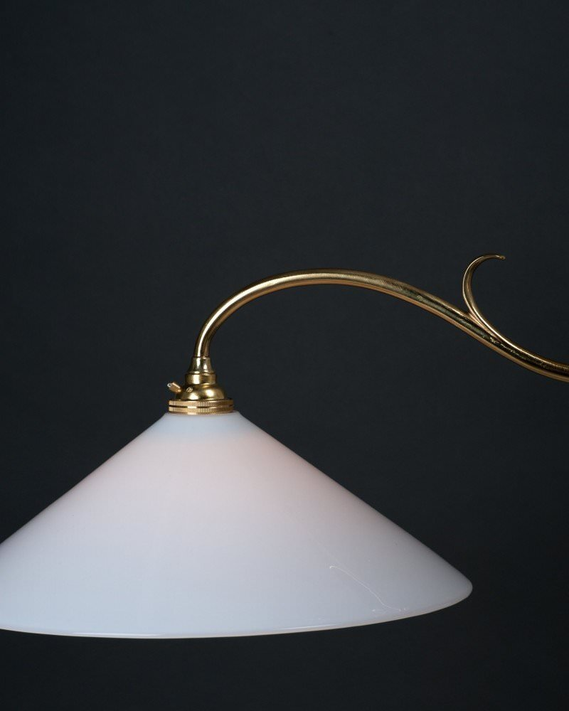 Brass Edwardian Double Rise And Fall By Faraday And Son With White Handblown Glass Shades, Antique Lighting