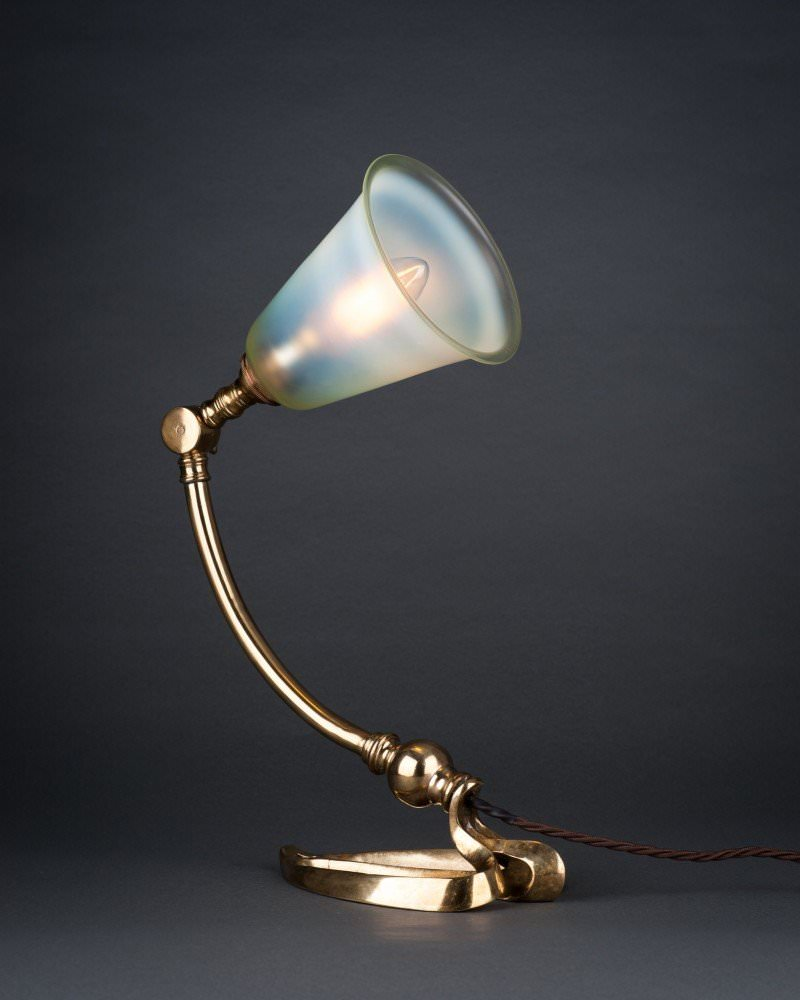Harp Table Lamp In The Style Of Benson With Eau De Nil Shade, Antique  Lighting