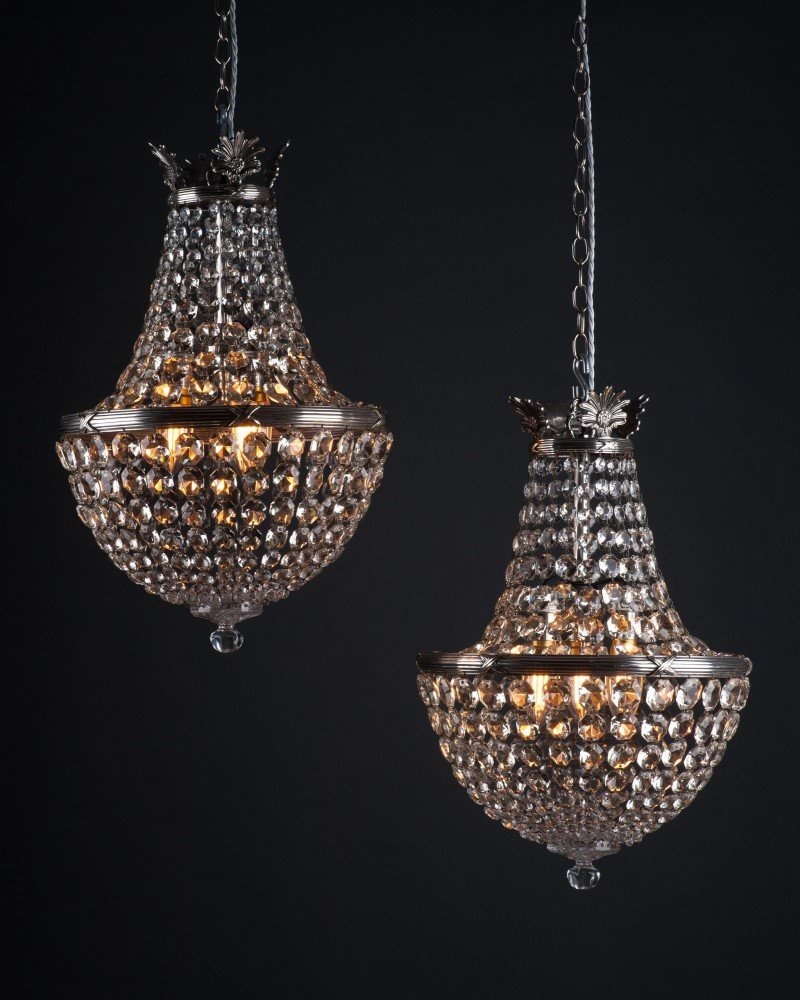 Pair of antique crystal bag chandeliers by faraday antique lighting aloadofball Choice Image