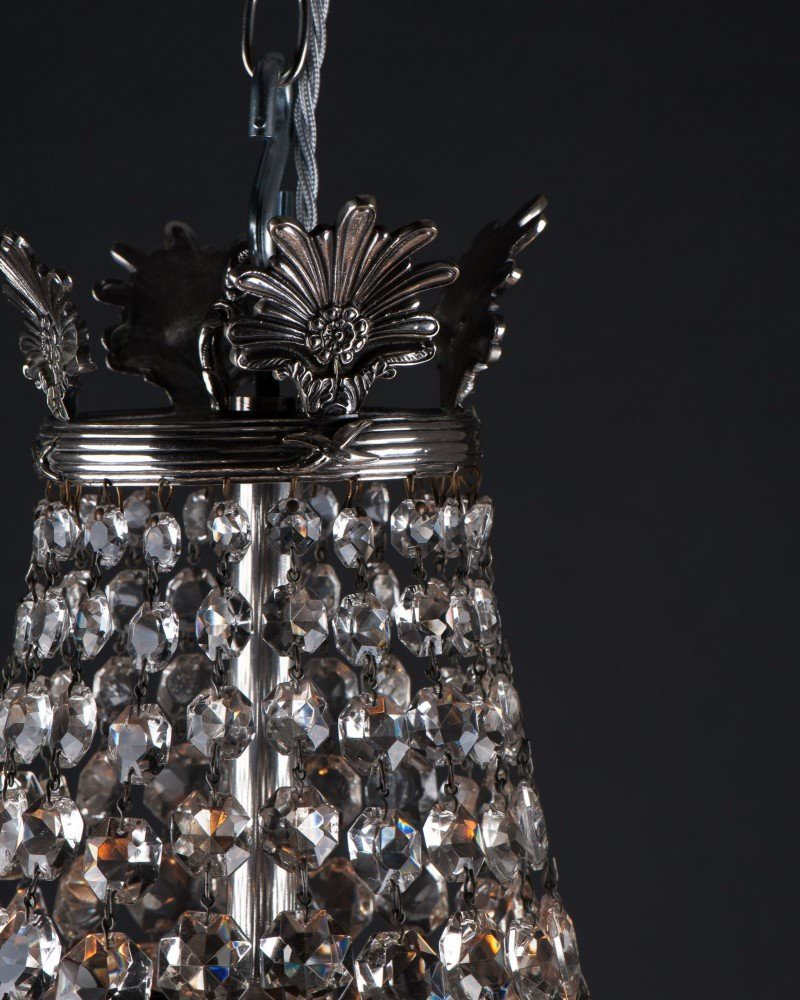 Pair of antique crystal bag chandeliers by faraday antique lighting aloadofball Gallery