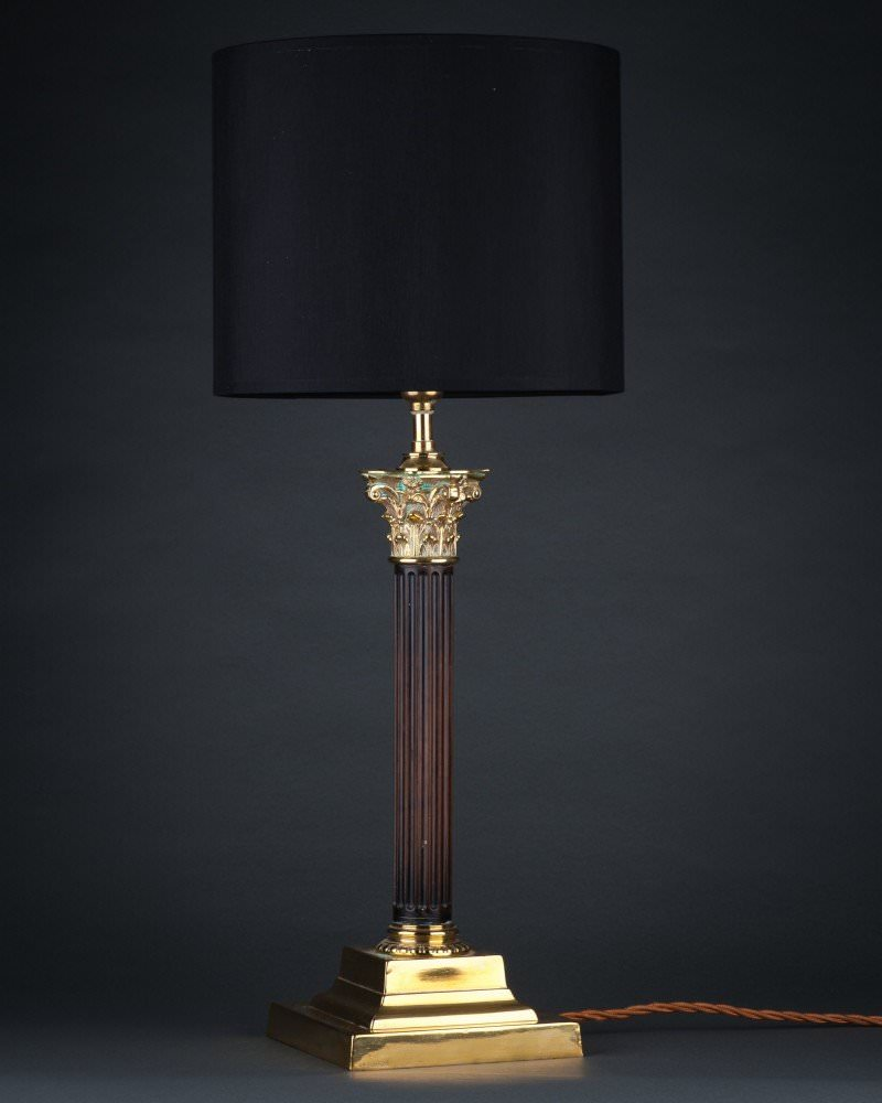 Column table lamp with brass base antique lighting corinthian column table lamp with brass base antique lighting greentooth Gallery