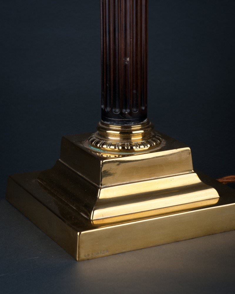 Column table lamp with brass base antique lighting corinthian column table lamp with brass base antique lighting geotapseo Choice Image