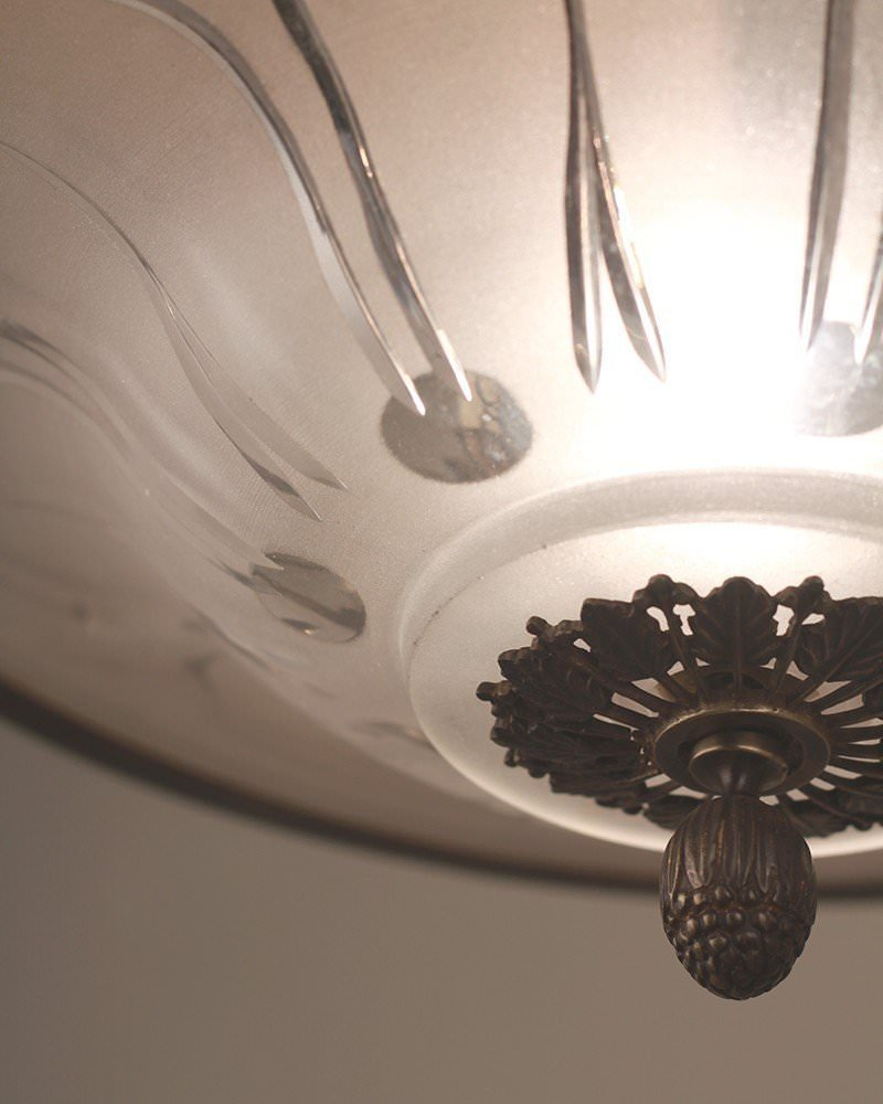 Vintage lighting 6 branch glass chandelier with frosted glass bowl aloadofball Images