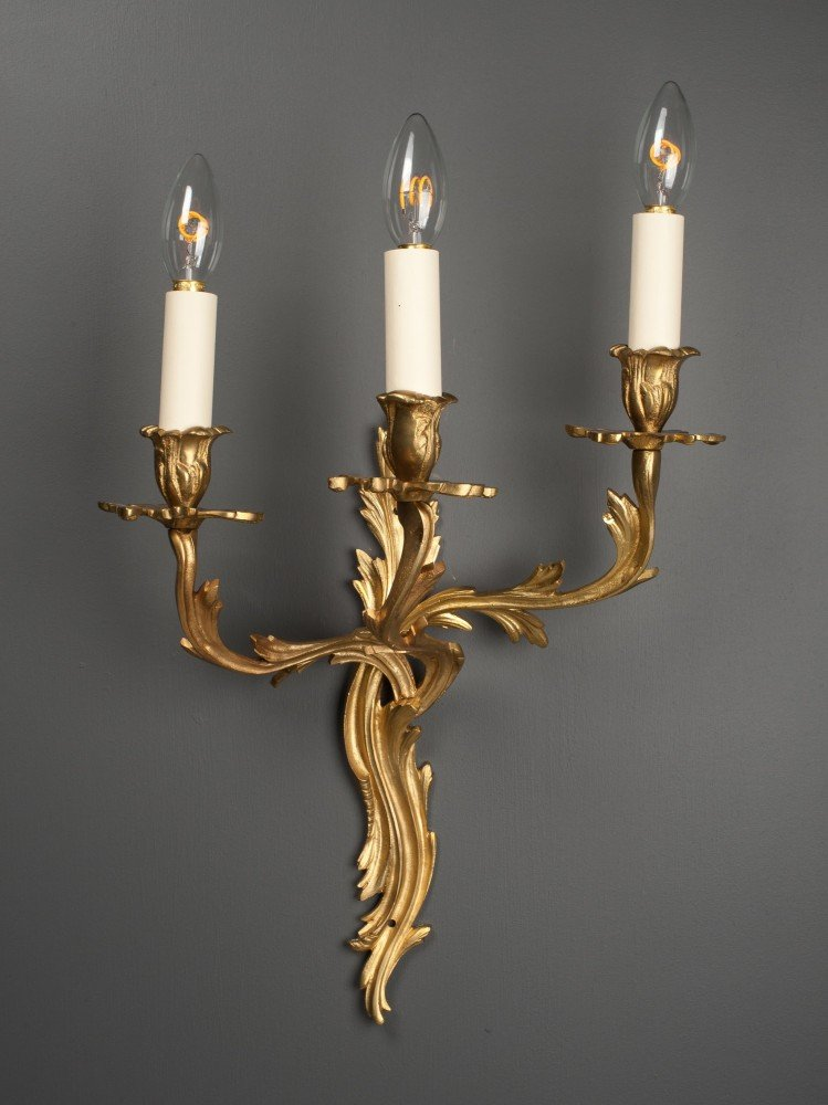 Gilt Wall Candle Sconce Pair Of 3 Branch Antique Rococo Vintage Retro Antique Style