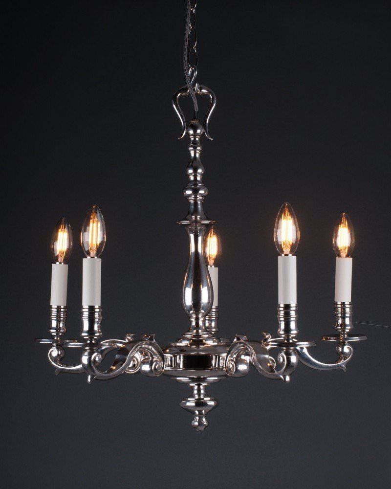 Quality 5 Branch Silver Plate Chandelier, Antique Lighting