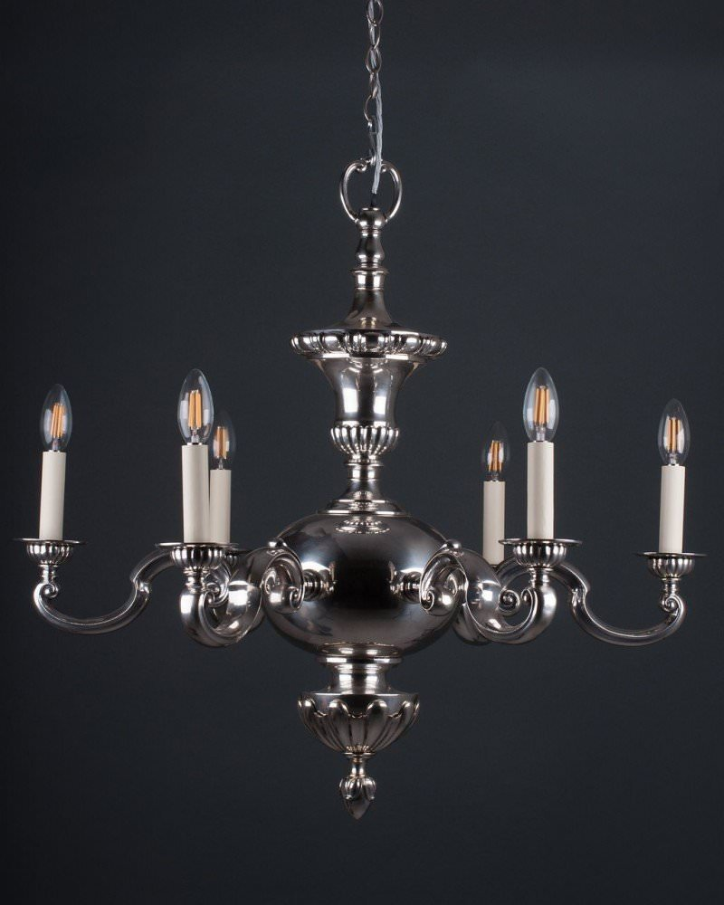 Large Gadrooned 6 Branch Silver Chandelier, Antique Lighting