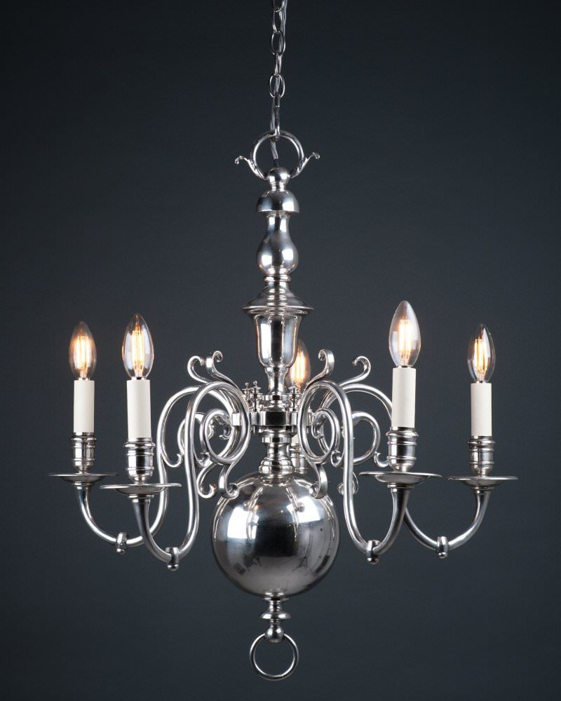 5 Branch Faraday And Son Dutch Style Chandelier, Antique Lighting