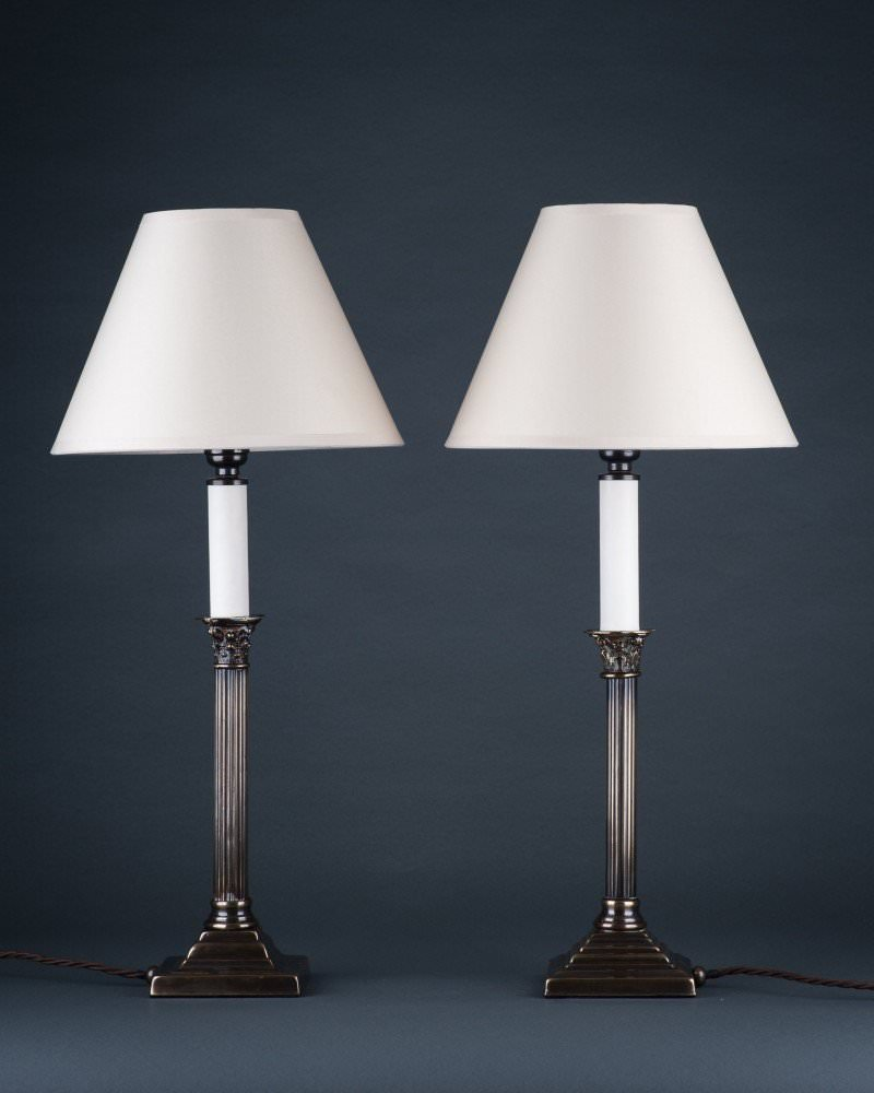 Pair of corinthian column table lamps a pair of corinthian column table lamps geotapseo Choice Image