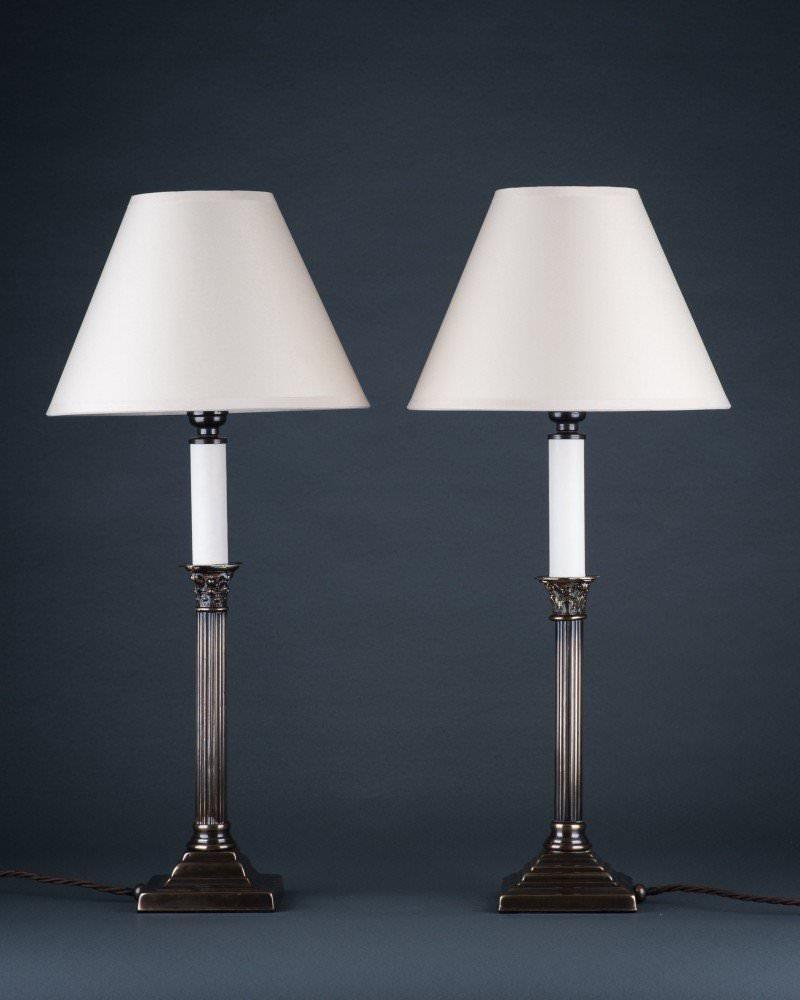 harlequin corinthian column table lamps pair antique lighting