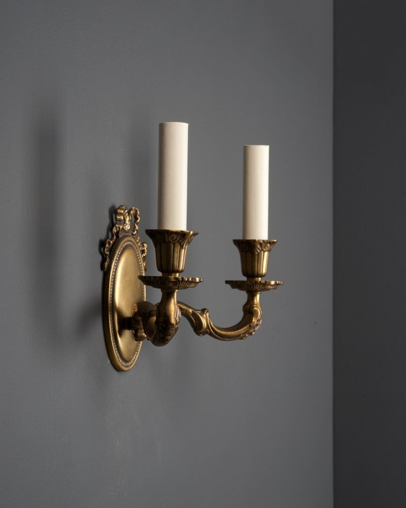 Set of 3 brass candle sconces aloadofball Choice Image