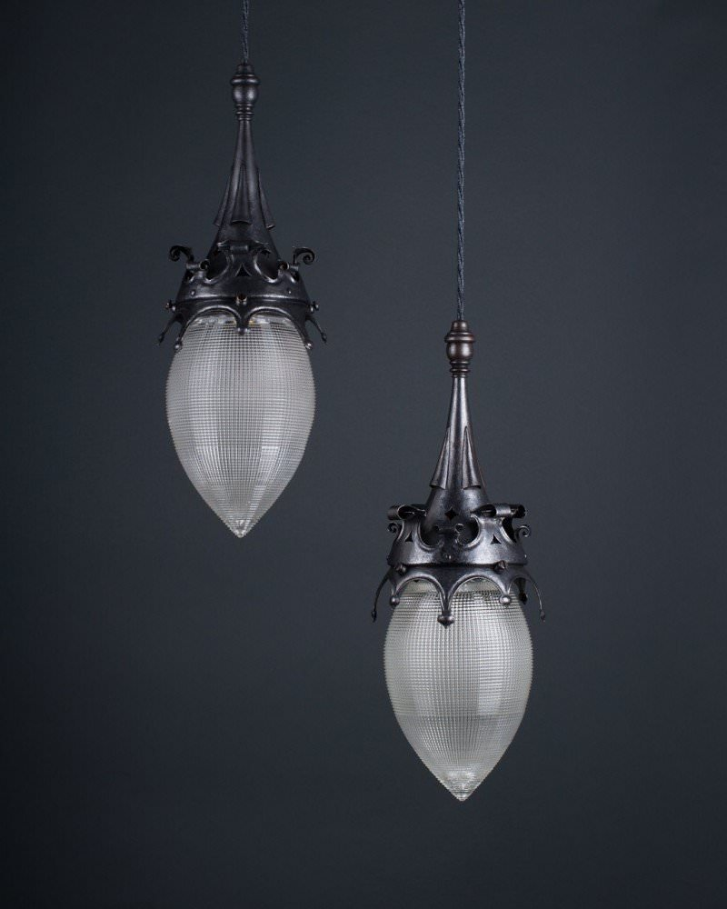 antique pendant lighting. Gothic Style Pendant Lights With Hollophane Glass Pineapples, Antique Lighting