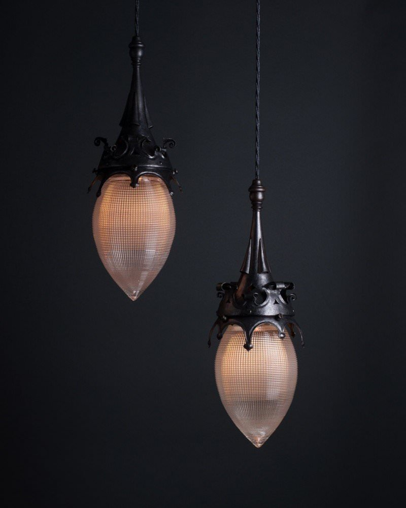 Gothic Style Pendant Lights With Hollophane Glass Pineapples, Antique Lighting