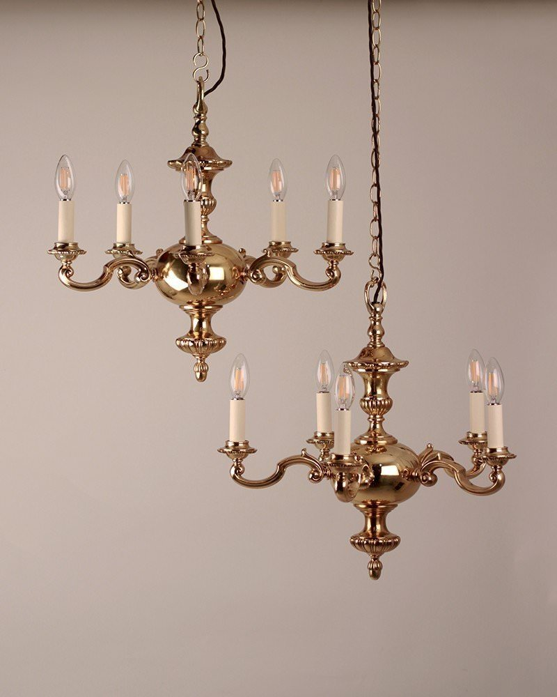 Antique brass 5 branch gadrooned chandeliers by gec circa 1930 pair antique brass 5 branch gadrooned chandeliers by gec circa 1930 pair antique lighting mozeypictures Gallery
