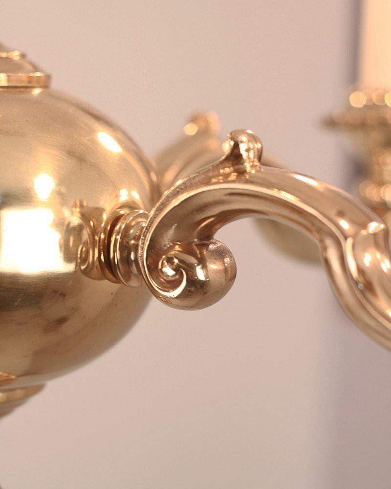 Antique Brass 5 Branch Gadrooned Chandeliers By Gec Circa