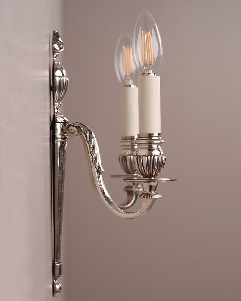 Wall Sconces Antique Silver : Neoclassical Silver Plate Wall Sconces, Gadrooned arms, Antique Lighting