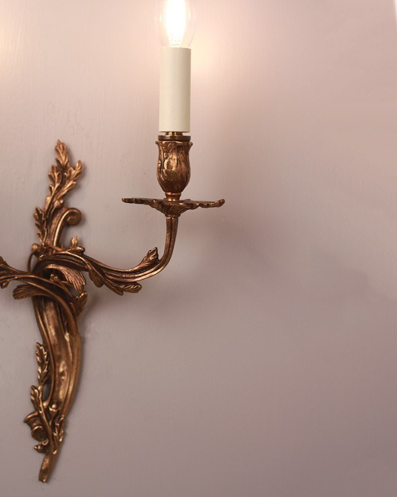 Pair Of 2 Branched Rococo Candle Wall Sconces, Antique Lighting