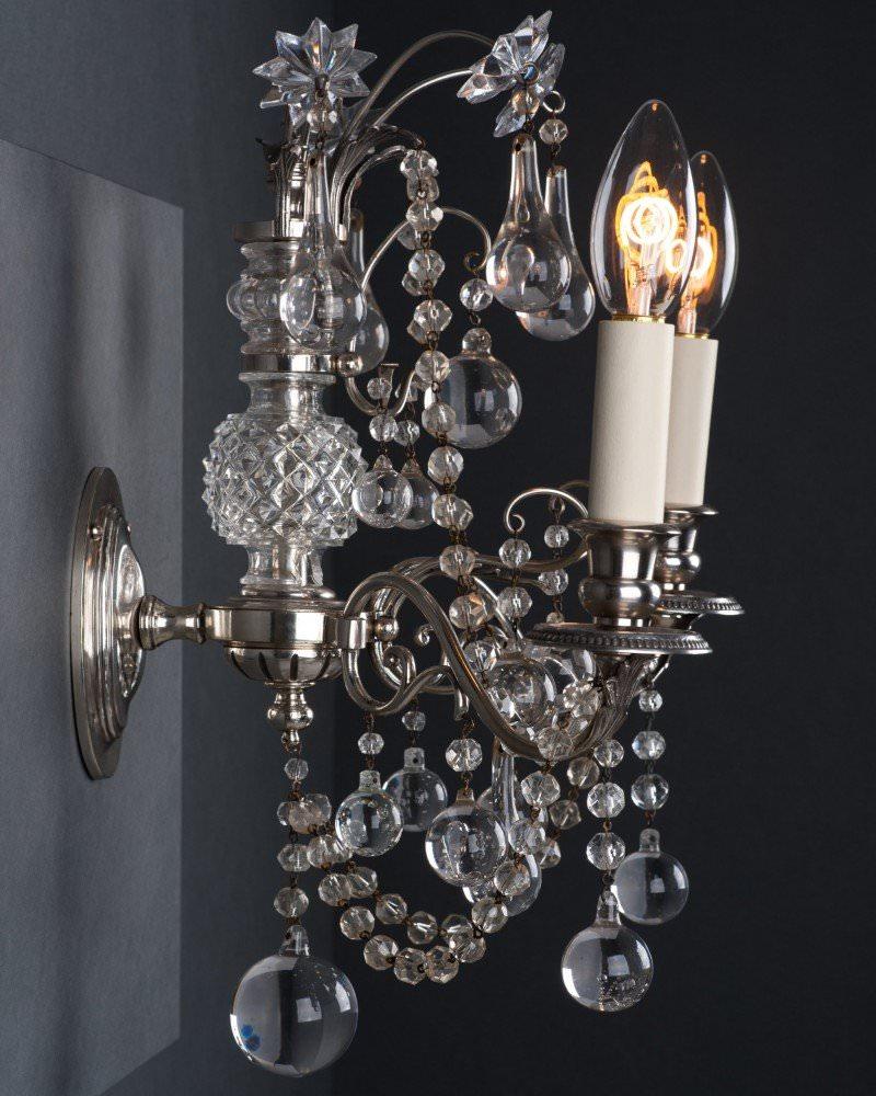 Set Of 3 Superb Quality Osler Crystal Wall Sconces