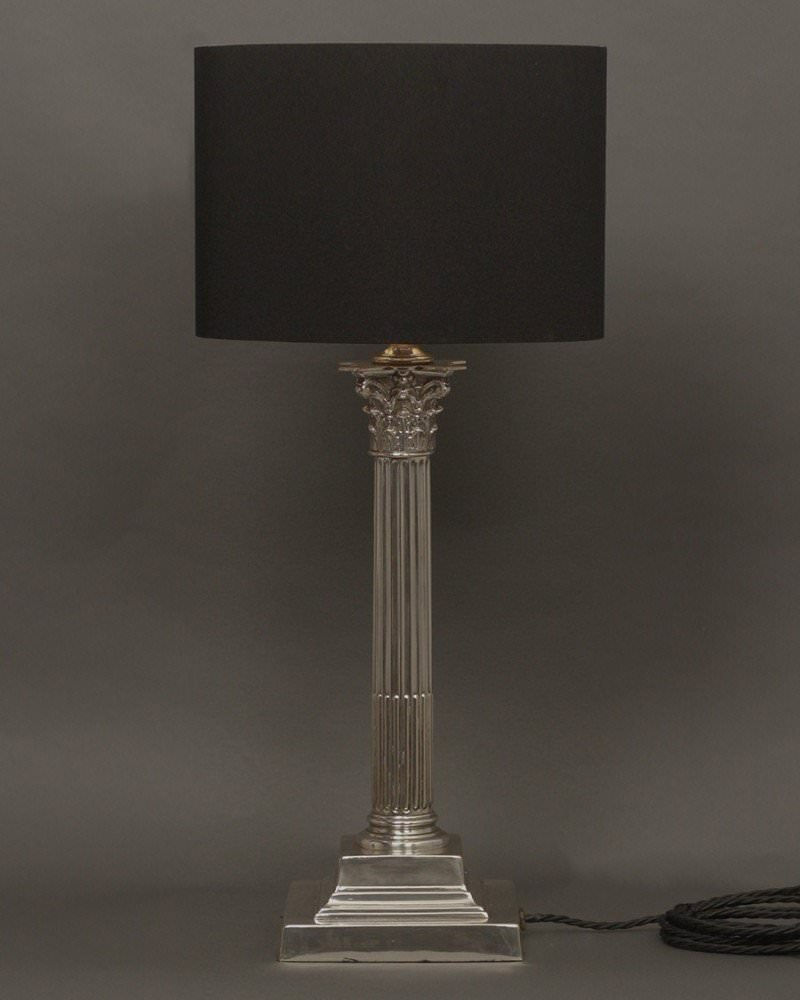 Plate corinthian column table lamp silver plate corinthian column table lamp geotapseo Choice Image