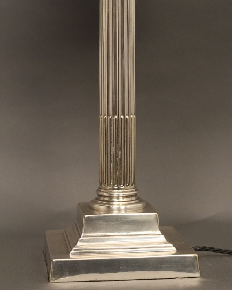 Silver Plate Corinthian Column Table Lamp, Antique Lighting