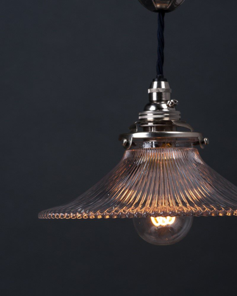 Silver Plate Single Rise And Fall By Faraday And Son With Holophane Coolie Shade, Antique Lighting