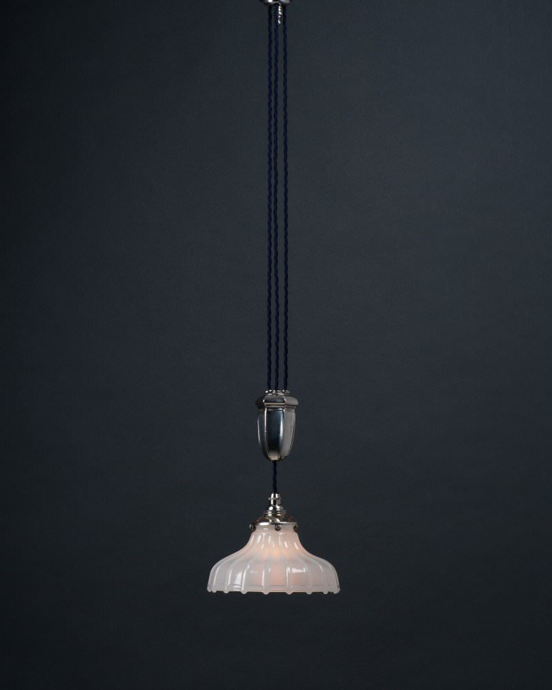 Antique and vintage pendant lights antique and vintage pendants silver plate single rise and fall by faraday and son with jefferson moonstone glass shade aloadofball Image collections
