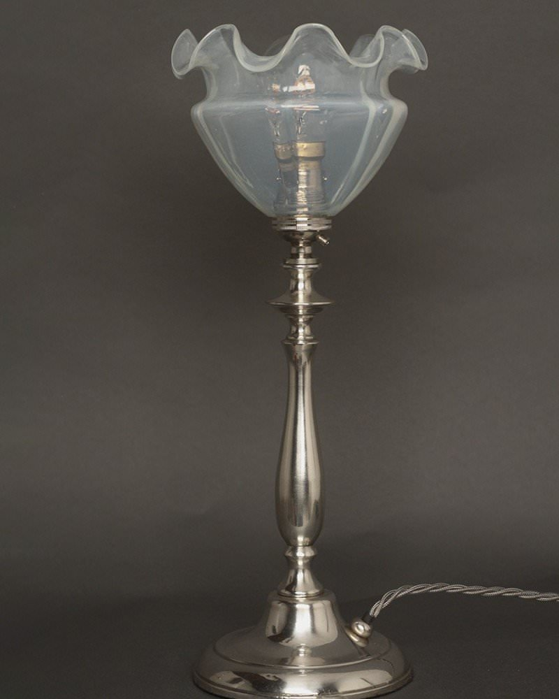 Glass shade table lamp - Good Quality Silver Plate Turned Table Lamp With Vaseline Glass Shade
