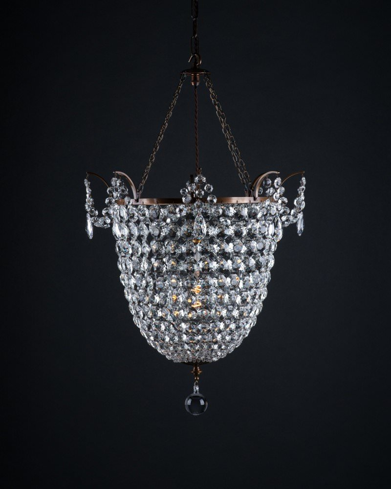 Brampton crystal and brass chandelier vintage lighting aloadofball Image collections