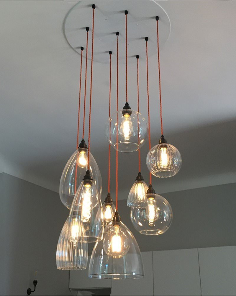 Clear glass cluster globe pendant ceiling light the for Contemporary chandeliers and pendants