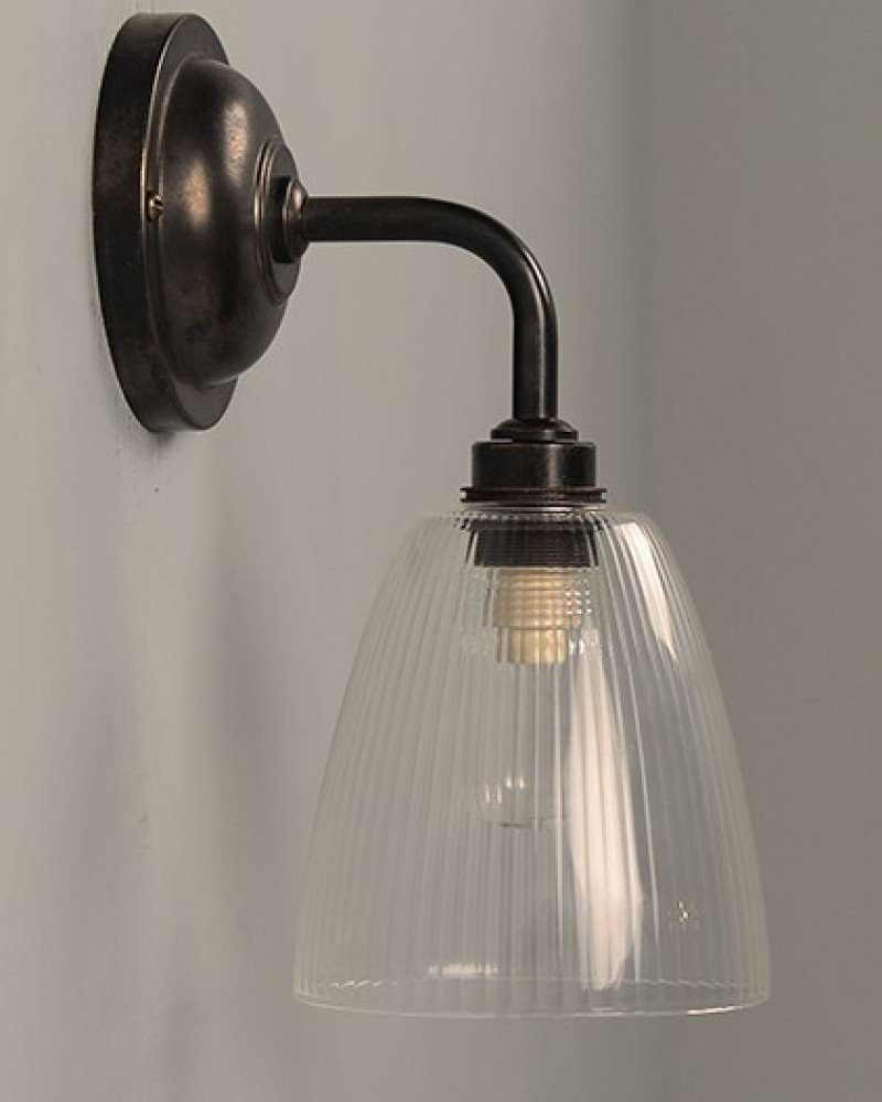 Skinny Ribbed Glass Bathroom Wall Light, Pixley Retro & Traditional ...