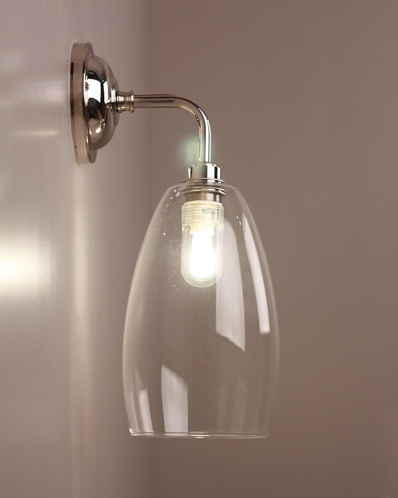 Bathroom light contemporary bathroom wall light with clear upton designer bathroom light contemporary bathroom wall light with clear upton glass shade ip44 rated mozeypictures Images