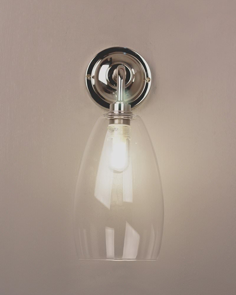Bathroom light contemporary bathroom wall light with clear upton designer bathroom light contemporary bathroom wall light with clear upton glass shade ip44 rated aloadofball Gallery
