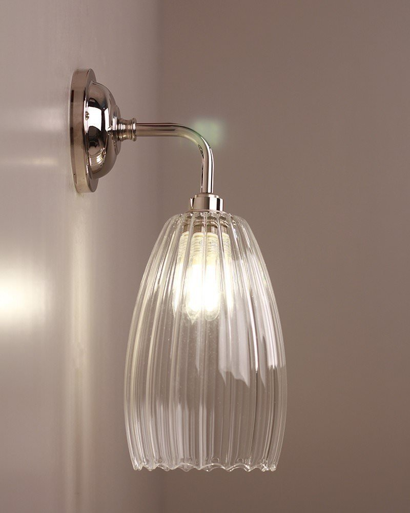 Clear Ribbed Glass Bathroom Wall Light, Upton Retro
