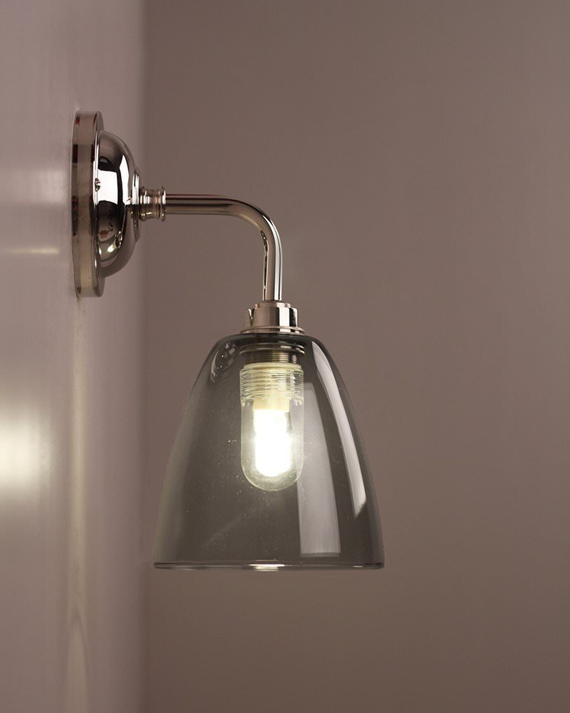 Smoked glass bathroom wall light pixley retro for Traditional bathroom wall lights