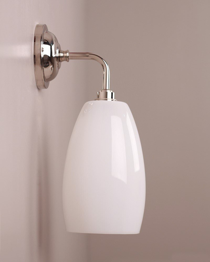 Contemporary Bathroom Wall Lights wall light, upton white glass contemporary bathroom wall light