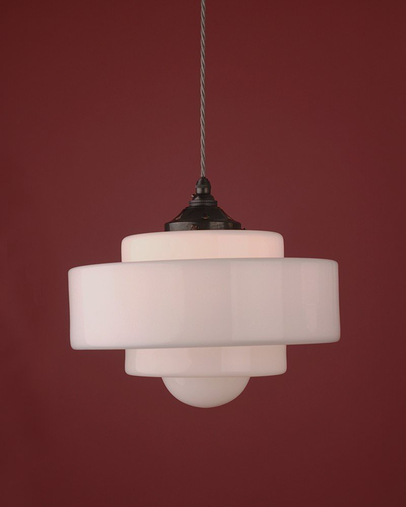 Savoy art deco jelly white glass mould pendant light retro lighting aloadofball Image collections