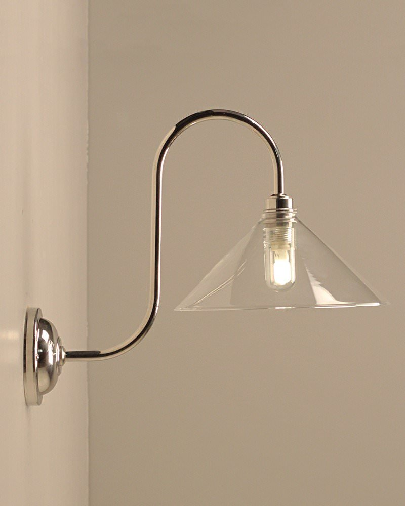 Swan Neck Bathroom Wall Light With Hay Glass Coolie Shade, Hay Contemporary And Retro Lighting (Ip44 Rated)