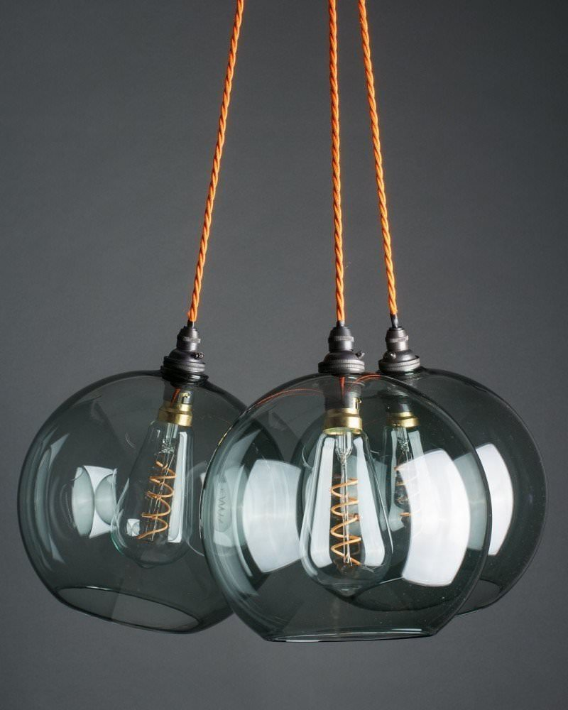 Clear Ribbed Glass Cluster Dish Globe Pendant Ceiling