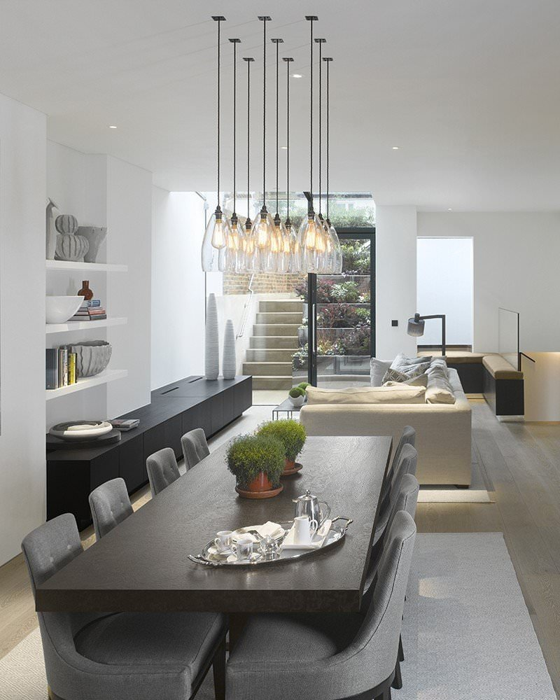 Clear glass pendant ceiling light upton retro contemporary design aloadofball Image collections