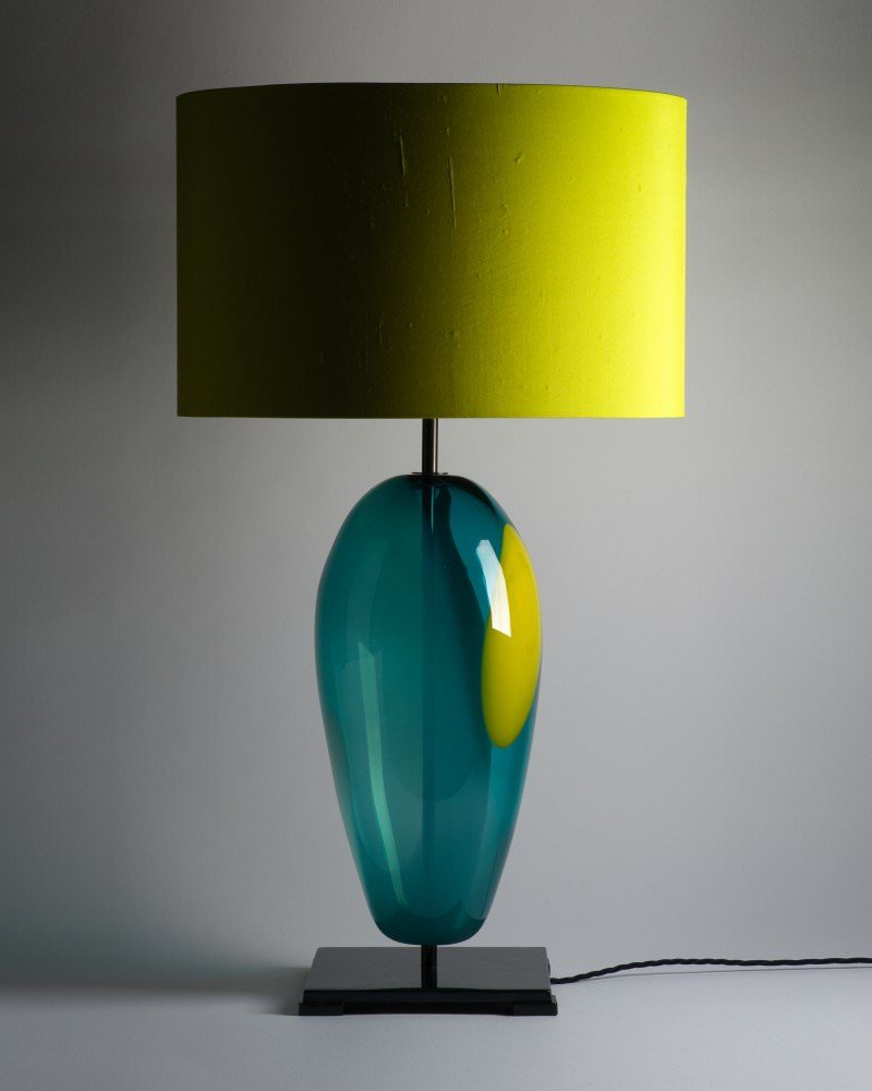 Handblown large blue artisan glass lucton table lamp mozeypictures Choice Image