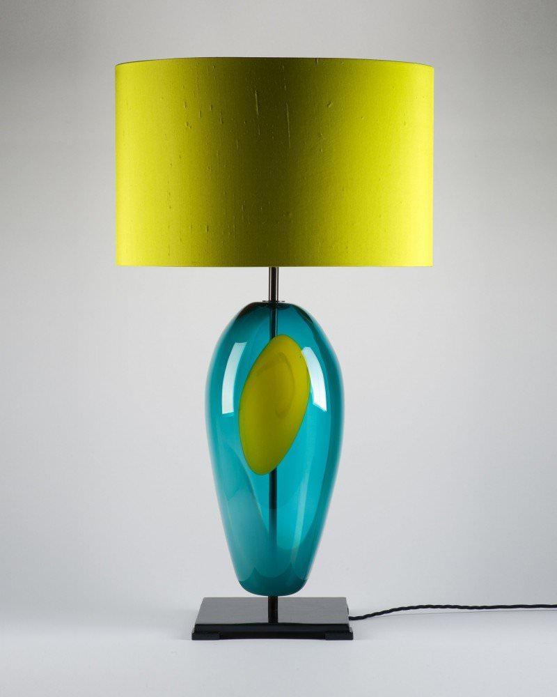 Handblown large blue Artisan glass Lucton Table lamp